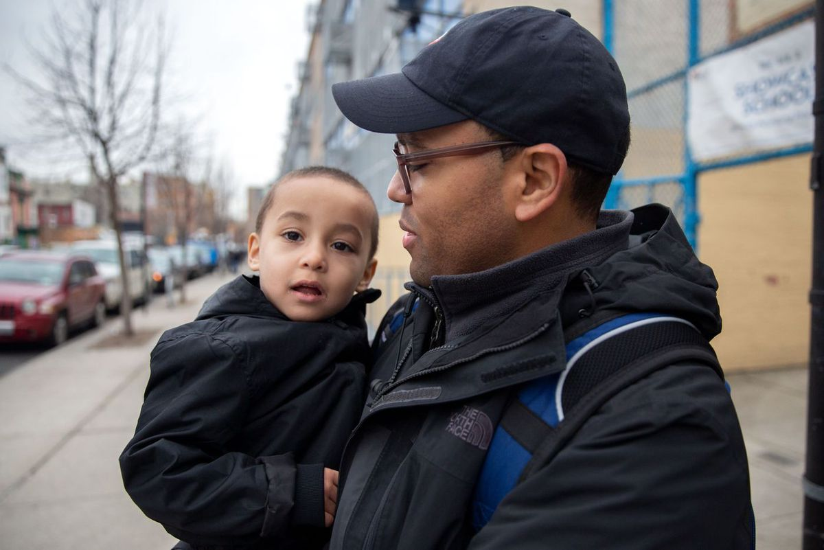 Ariel Veloz picked up his three-year-old son Jacob from Sunshine daycare across the street from a Bronx school closed due to the coronavirus.