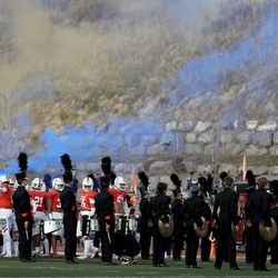 Timpview prepares to run onto the field before the game against Orem at Timpview High in Provo on Thursday, Sept. 30, 2021.