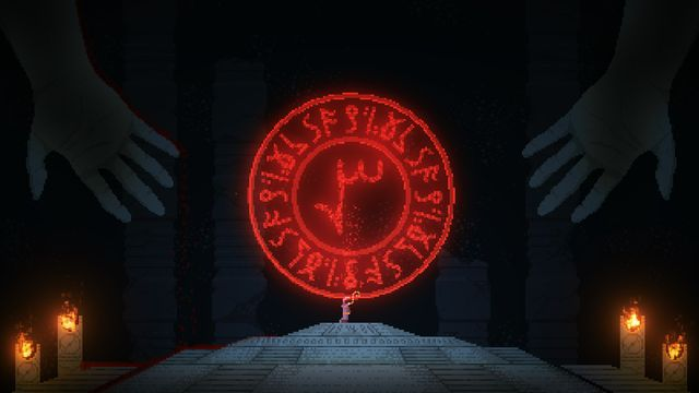 A pixel-art priest stands on an altar underneath a red, eldritch design