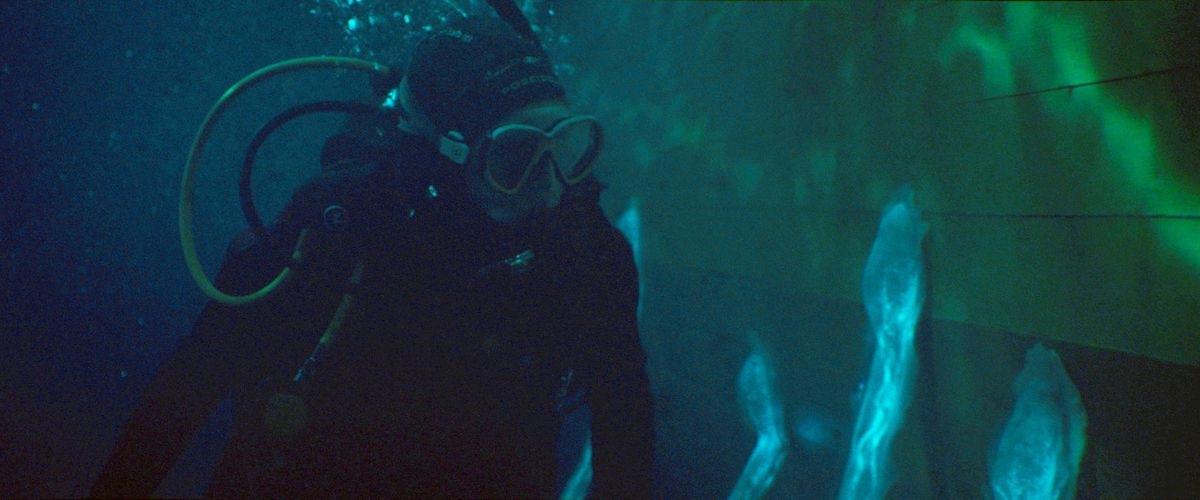 A character swimming underwater in a diving suit examines several large, glowing remora-like suckers attacked to the hull of her ship in Sea Fever.