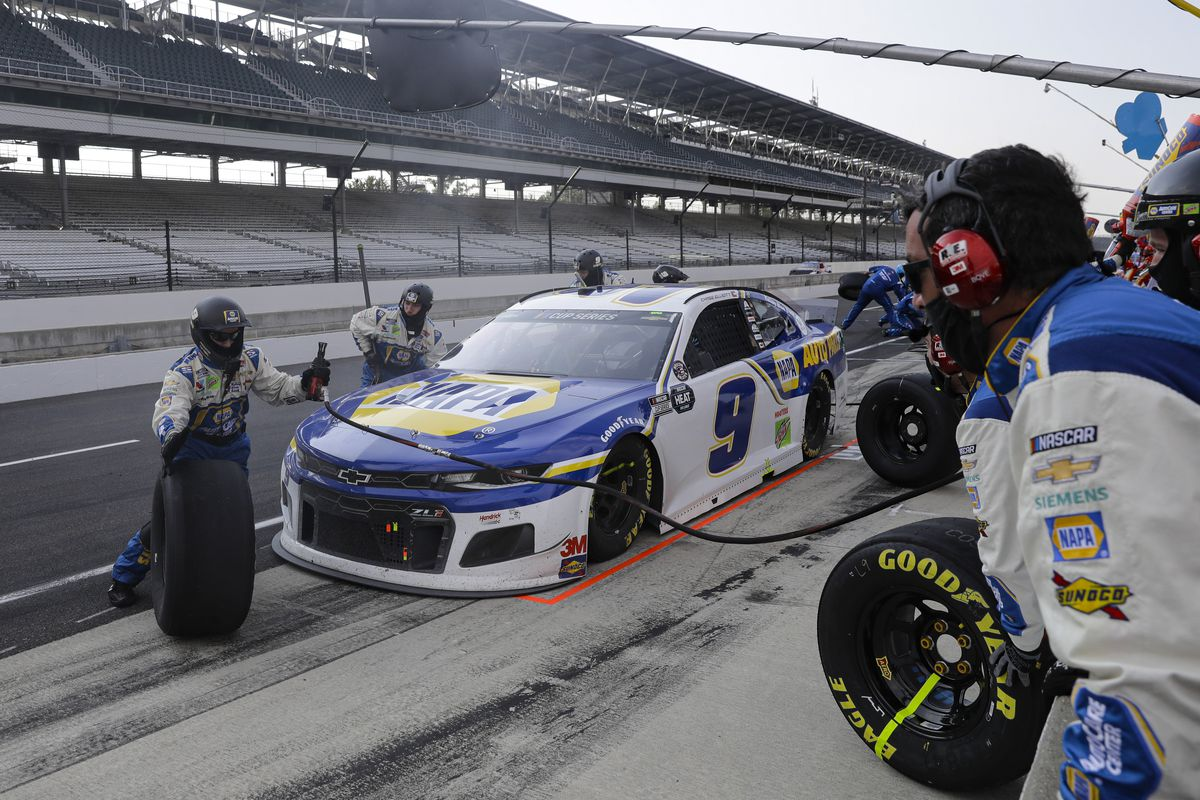 Chase Elliott pits during the Big Machine Hand Sanitizer 400 at Indianapolis Motor Speedway.