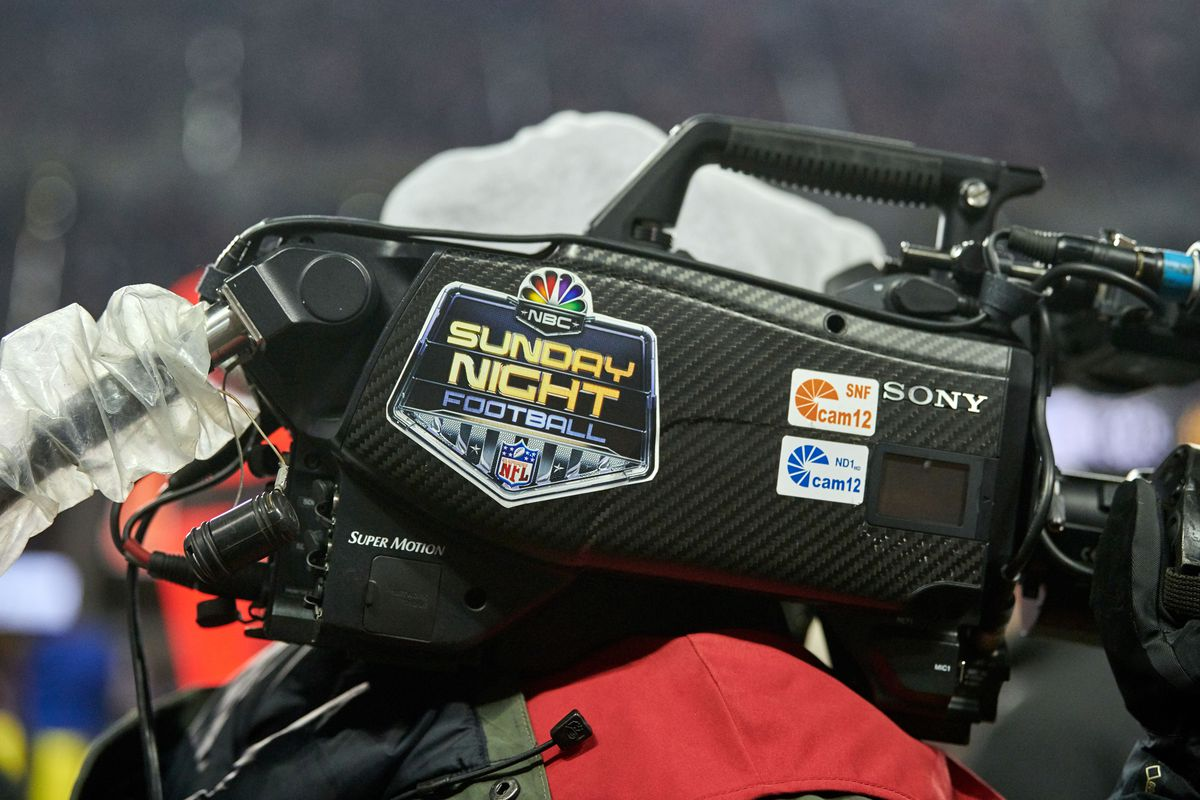 A detailed view of a NBC Sunday Night Football NFL logo sticker is seen on a field camera in action during a NFL game between the Chicago Bears and the Minnesota Vikings on November 18, 2018 at Soldier Field, in Chicago, Illinois.