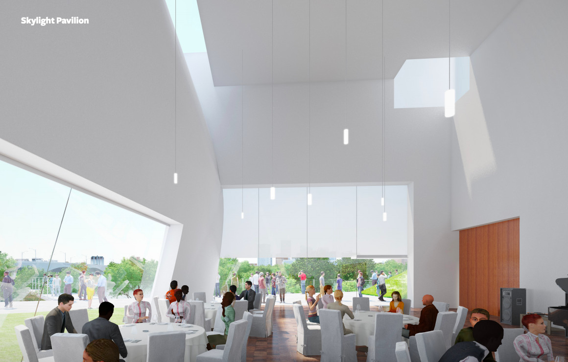 A rendering of an airy pavilion filled with tables, visitors, and dangling lights.