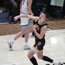 Davis' Chance Trujillo celebrates a 3-pointer on Westlake during the 6A boys basketball championship game at Salt Lake Community College in Taylorsville on Saturday, March 6, 2021. Davis won 60-55.