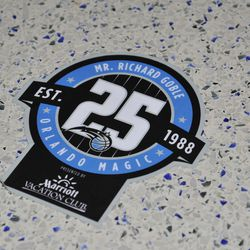 Close-up of a decal commemorating one of more than 400 Magic season ticket-holders
