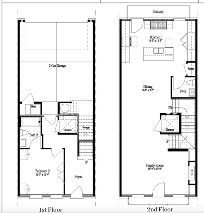 A floorplan of two levels of a home in black and white.