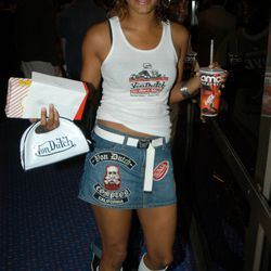 Von Dutch was also known for its heavily-branded parties, like 2003's Scary Movie 3 premiere in Westwood. Here's actress K.D. Aubert in head-to-toe VD.