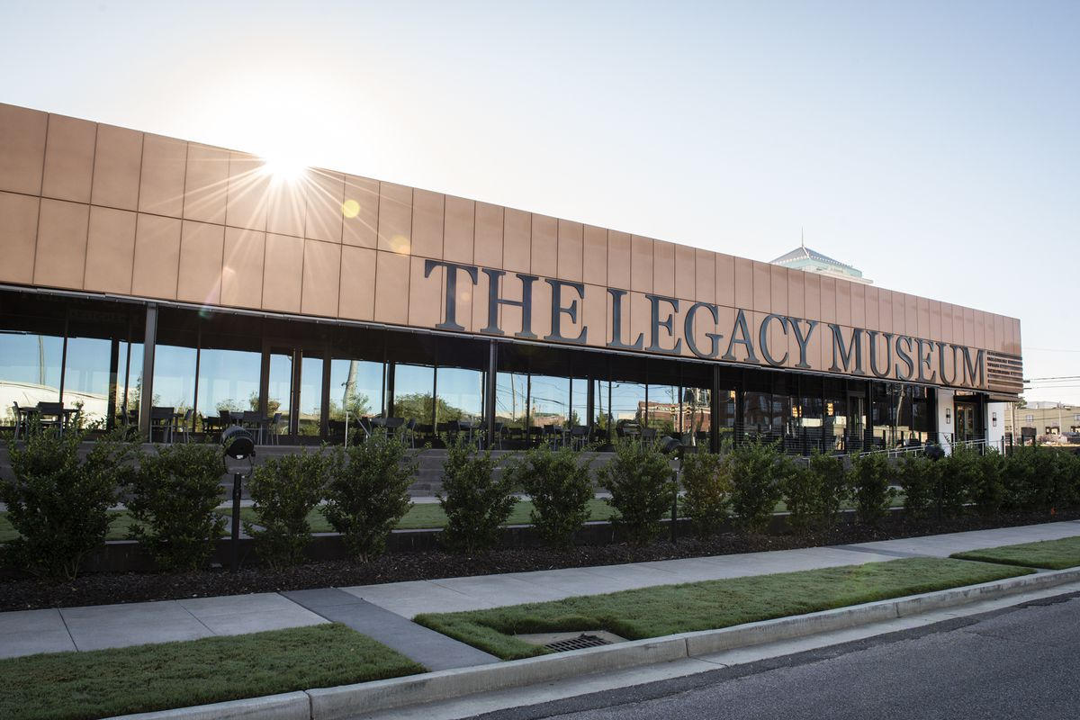 The exterior of the Legacy Museum on a street in Montgomery, Alabama.