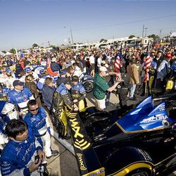 Drivers and crews gather at a Le Mans Series race in March 2007 at Sebring International Raceway in Sebring, Fla.