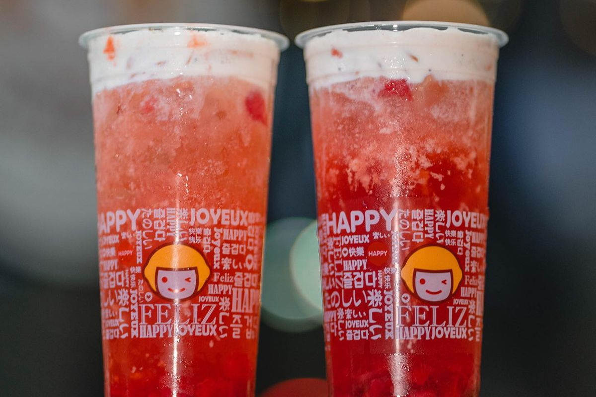The strawberry tea and salted cheese drink from Happy Lemon