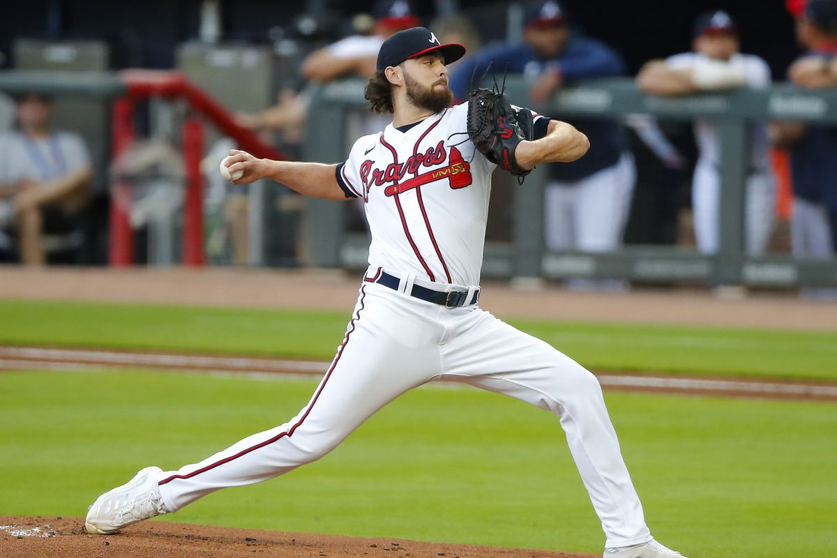 Ian Anderson #36 of the Atlanta Braves delivers the pitch in the first inning of an MLB game against the New York Mets at Truist Park on July 1, 2021 in Atlanta, Georgia.