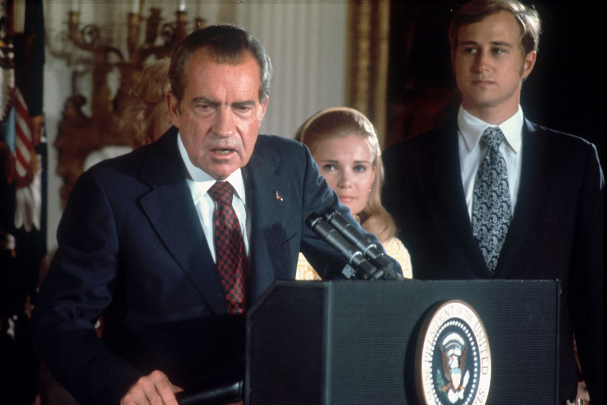 Nixon delivers his resignation speech on August 9, 1974.