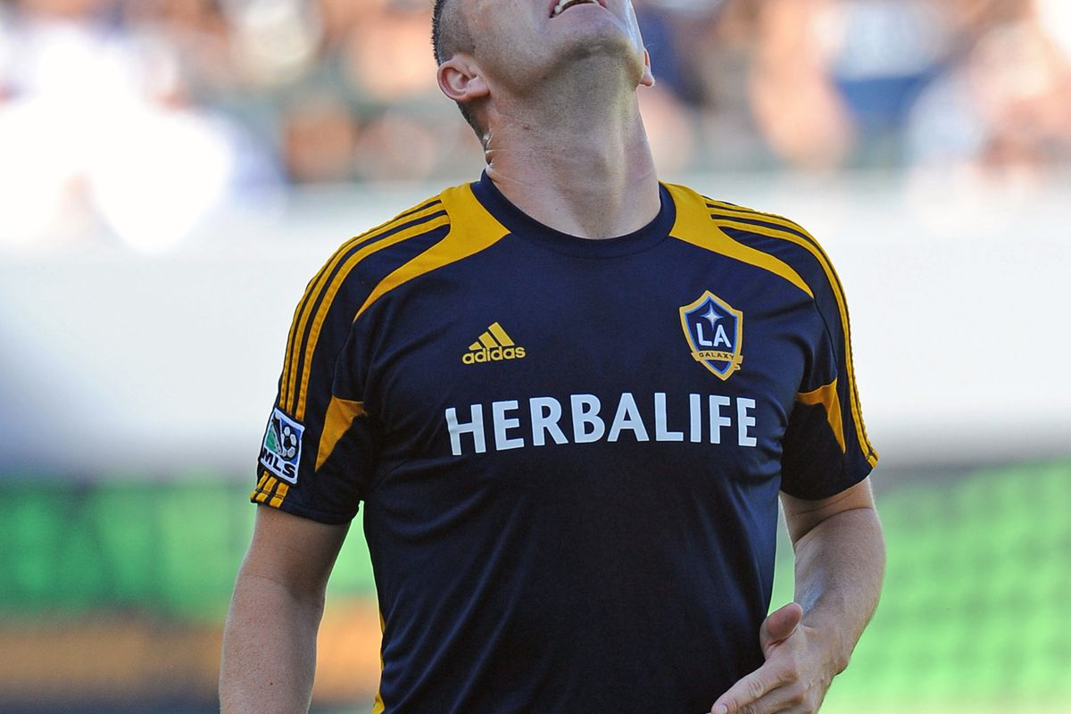 August 26, 2012; Los Angeles, CA, USA;  Los Angeles Galaxy forward Robbie Keane (7) controls the ball before the game against the FC Dallas at the Home Depot Center. Galaxy won 2-0. Mandatory Credit: Jayne Kamin-Oncea-US PRESSWIRE