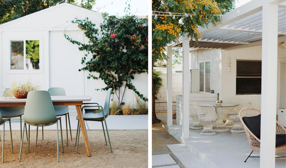 Summer 2021 Outdoor Rooms, Almost Makes Perfect, outdoor dining area, vintage spun-fiberglass dining set