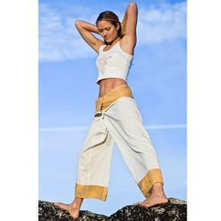 """<a href=""""http://www.islandimporter.com/Batik_Fisherman_Yoga_Pant.html"""">Batik fisherman yoga pant</a>, $40.00  <br></br> <b>Bali:</b> Instead of spending your savings on a yoga retreat in a quiet Indonesian fishing village, try ordering some pants. Wear"""