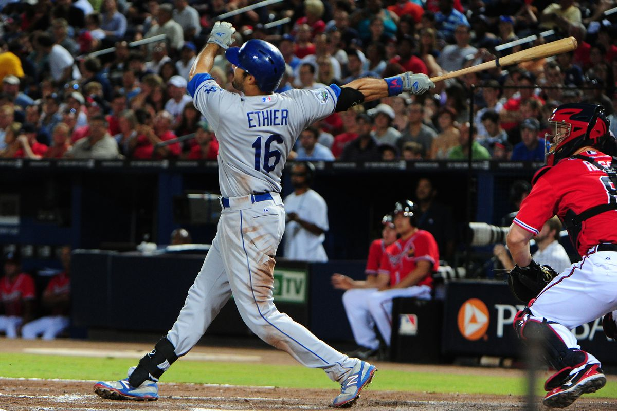 Andre Ethier put an end to his home run drought on Friday night against the Braves.