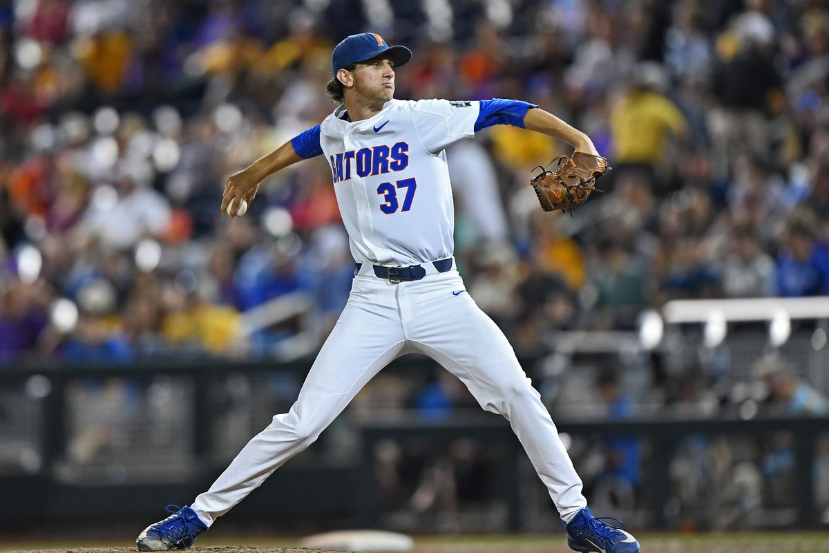 Pitcher Jackson Kowar #37 of the Florida Gators delivers a pitch against the LSU Tigers in the ninth inning during game two of the College World Series Championship Series on June 27, 2017 at TD Ameritrade Park in Omaha, Nebraska.