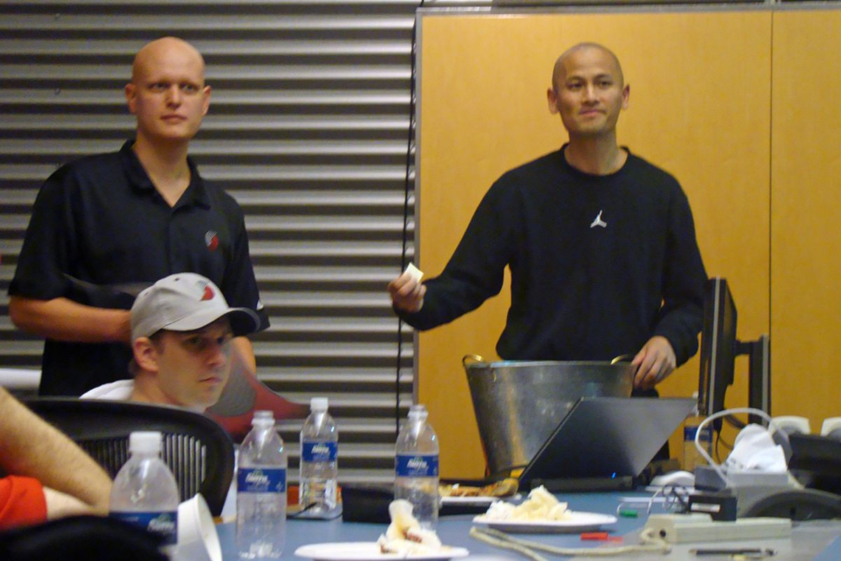 Portland Trail Blazers GM Rich Cho raffles off autographed memorabilia during a tour of the team's Practice Facility in Tualatin.