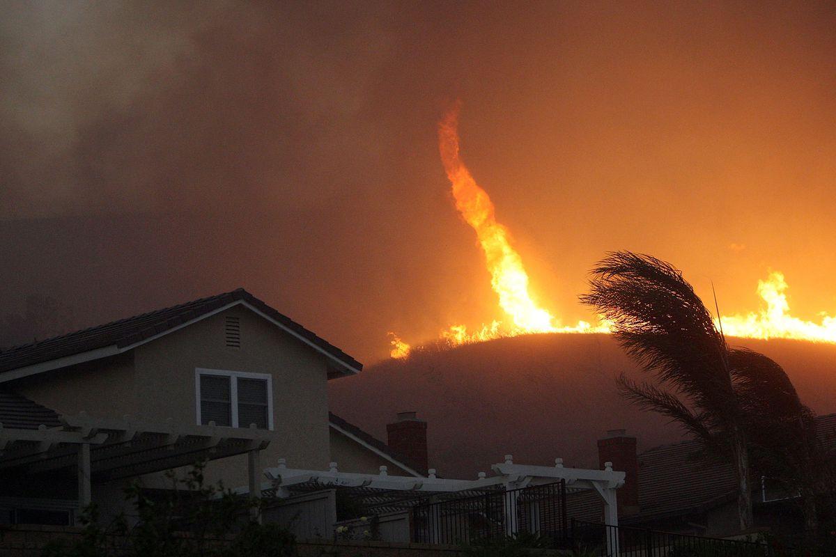 A 2008 fire tornado in Yorba Linda, CA.