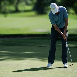 Paul Haley II putts during round three of the Korn Ferry Tour's Utah Championship at Oakridge Country Club in Farmington on Saturday, June 27, 2020. Haley ended the round tied for first.