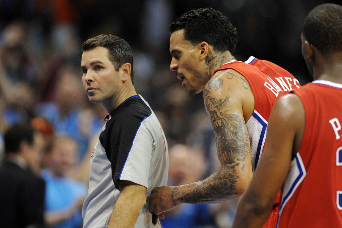 """Barnes: """"You do know that if a Thunder player was touching me like this, it would be considered a foul, right?"""""""