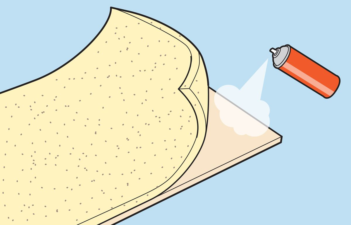 Illustration of spray glue being applied to plywood.