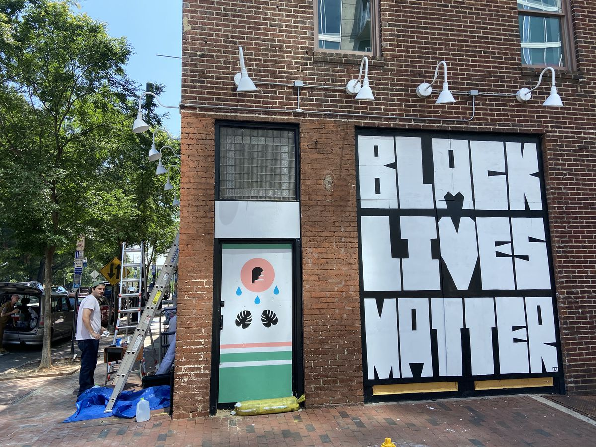 A Black Lives Mural painted on the side of Royale, in downtown Raleigh