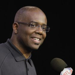 Detroit Lions general manager Martin Mayhew addresses the media during a pre-NFL draft football news conference at the team's training facility in Allen Park, Mich., Thursday, April 19, 2012.