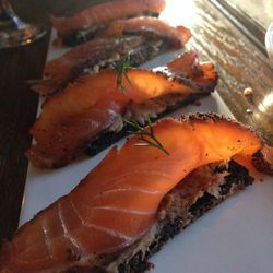 """Smoked Pastrami, Salmon Carpaccio, Bluefish Paté and Toasted Black Brioche at Black Crescent by <a href=""""https://www.flickr.com/photos/polsia/14276010817/in/pool-eater""""> Polsia"""