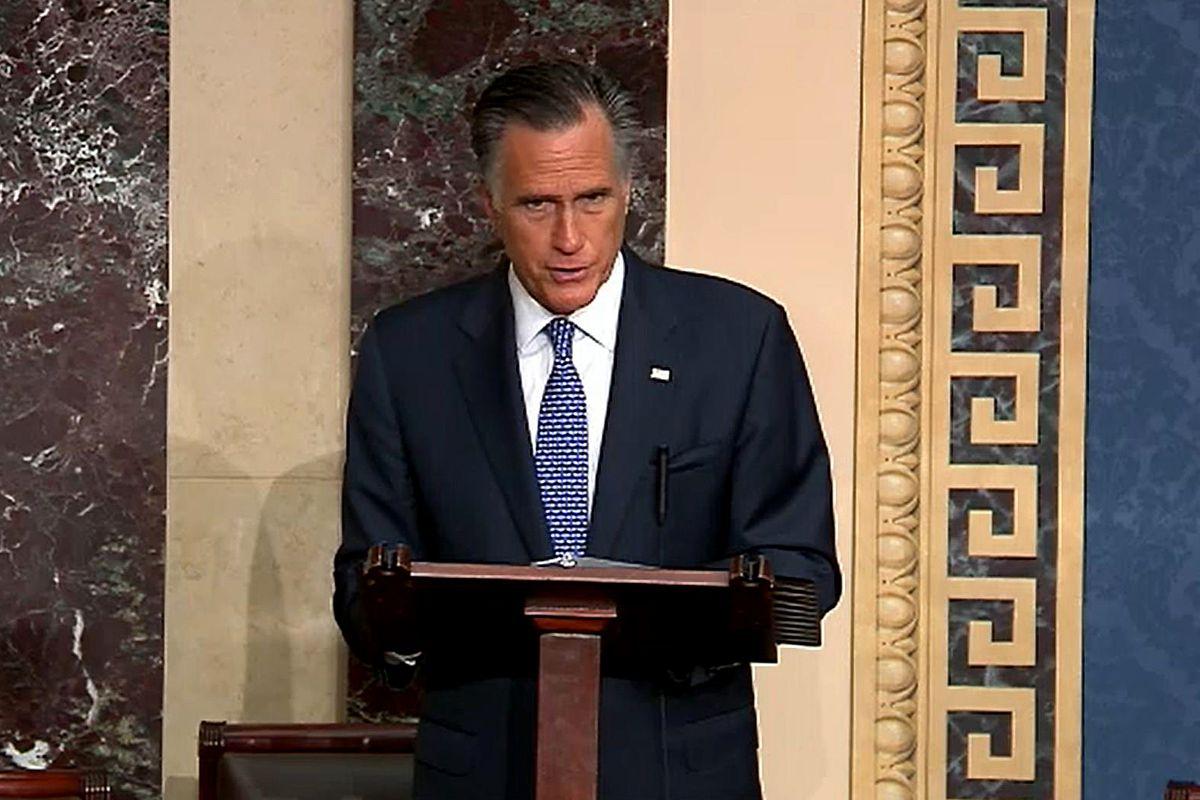 Sen. Mitt Romney, R-Utah, explains on Wednesday why he will vote to convict President Donald Trump.