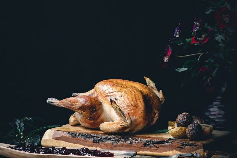 Cooked turkey on a surface with a dark black background.
