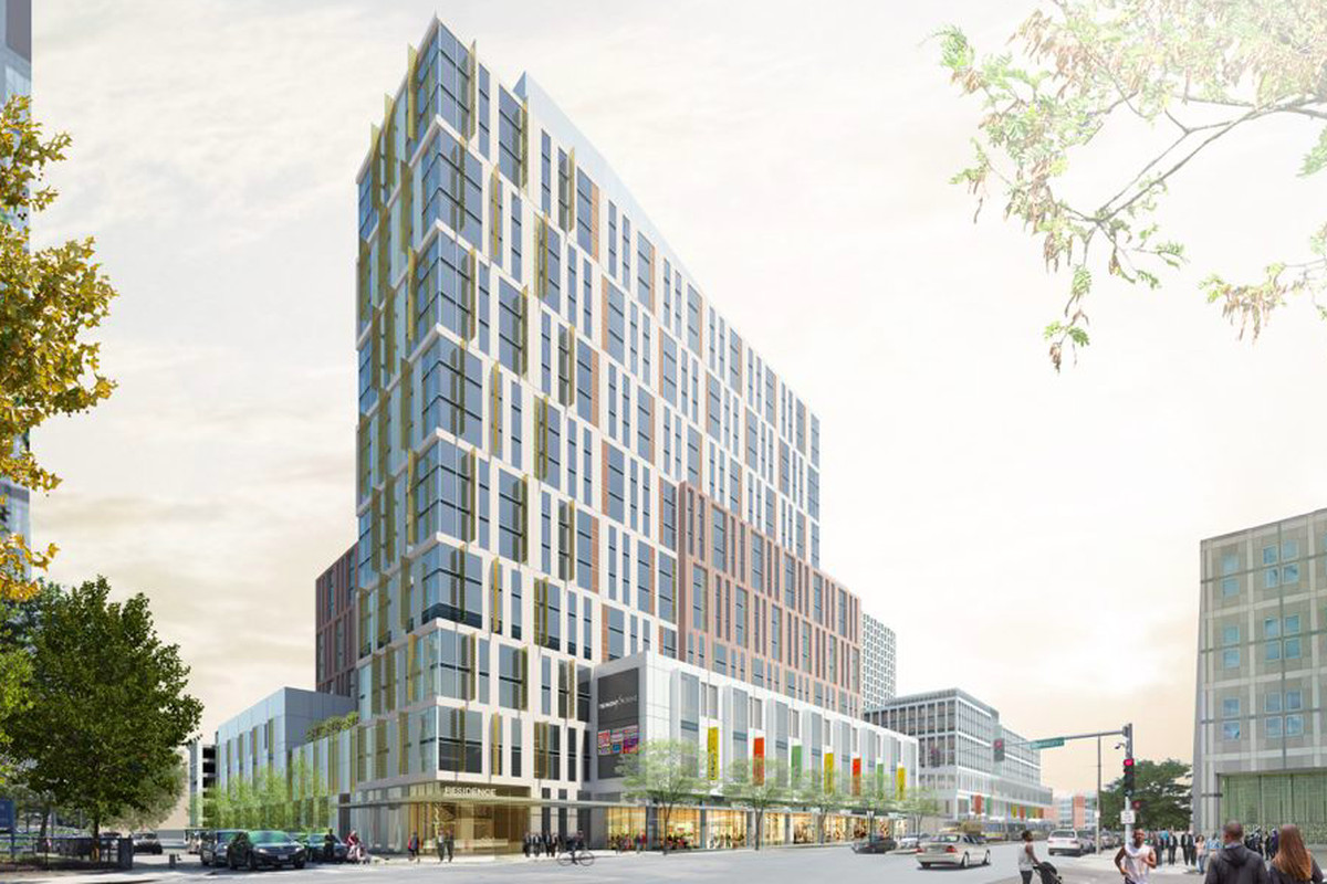 Rendering of a multi-story, rectangular office building.