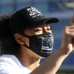 """""""This is just the first step!"""" yells Rae Duckworth during a rally in front of the Salt Lake City Public Safety Building after a jury found former Minneapolis police officer Derek Chauvin guilty in the killing of George Floyd on Tuesday, April 20, 2021."""