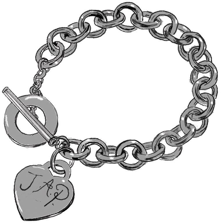 """Tiffany heart bracelet with the word """"JAP"""" engraved on it"""