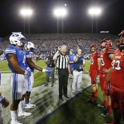 The coin is tossed prior to the Utah-BYU game  in Provo on Saturday, Sept. 9, 2017. Utah won 19-13.