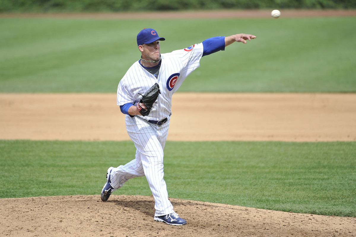 Starting pitcher Paul Maholm of the Chicago Cubs delivers against the Houston Astros at Wrigley Field in Chicago, Illinois.  (Photo by Brian Kersey/Getty Images)