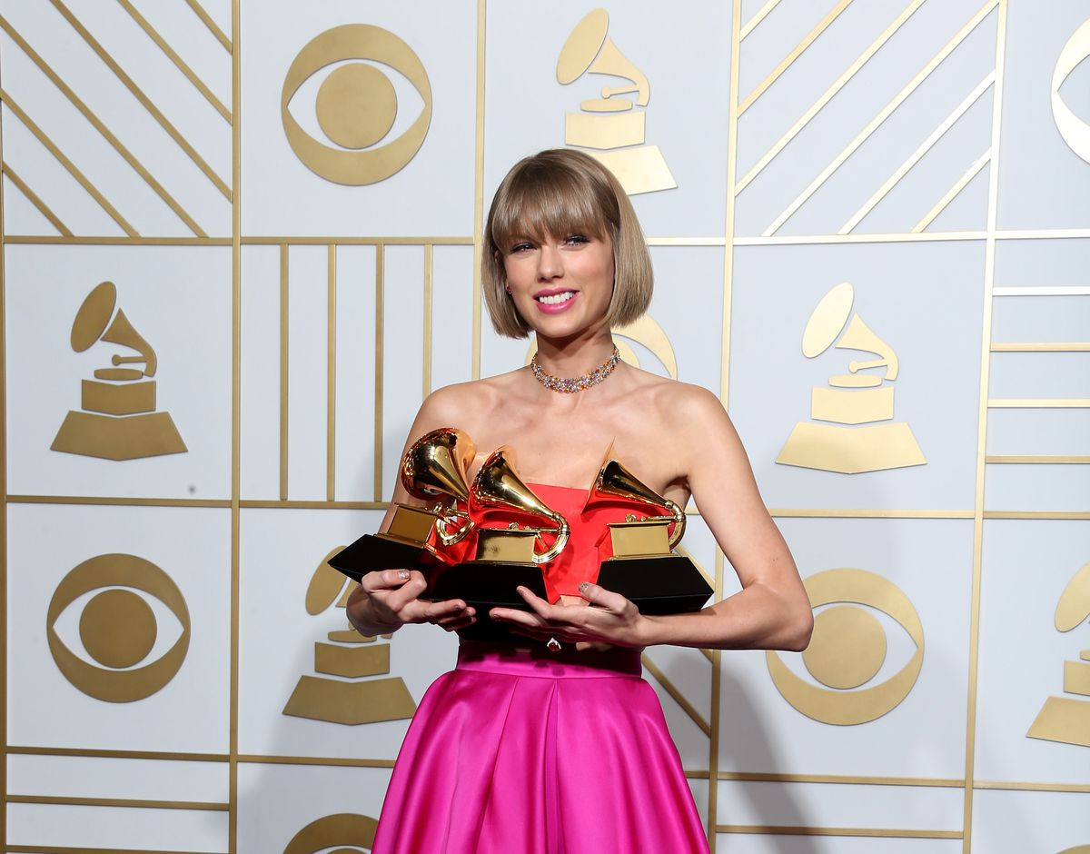 """Taylor Swift won three Grammys in 2016: Album of the Year and Best Pop Album for 1989, and Best Music Video for """"Bad Blood."""""""