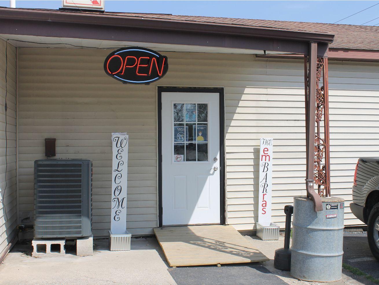 The entrance to the Embarras bar in downstate Villa Grove, Ill.