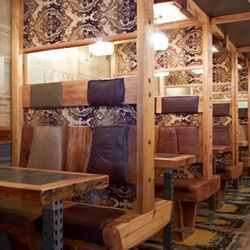 The booths resemble compartments on a train