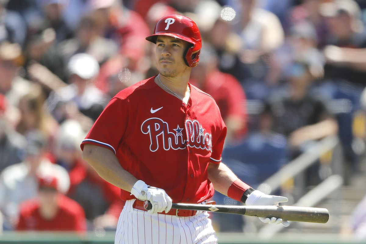 J.T. Realmuto #10 of the Philadelphia Phillies reacts after striking out against the Boston Red Soxof a Grapefruit League spring training game on March 07, 2020 in Clearwater, Florida.