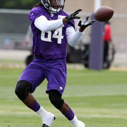 Jul 26, 2013; Mankato, MN, USA; Minnesota Vikings wide receiver Cordarrelle Patterson (84) catches a pass during training camp at Minnesota State University. Mandatory Credit: Brace Hemmelgarn-USA TODAY Sports