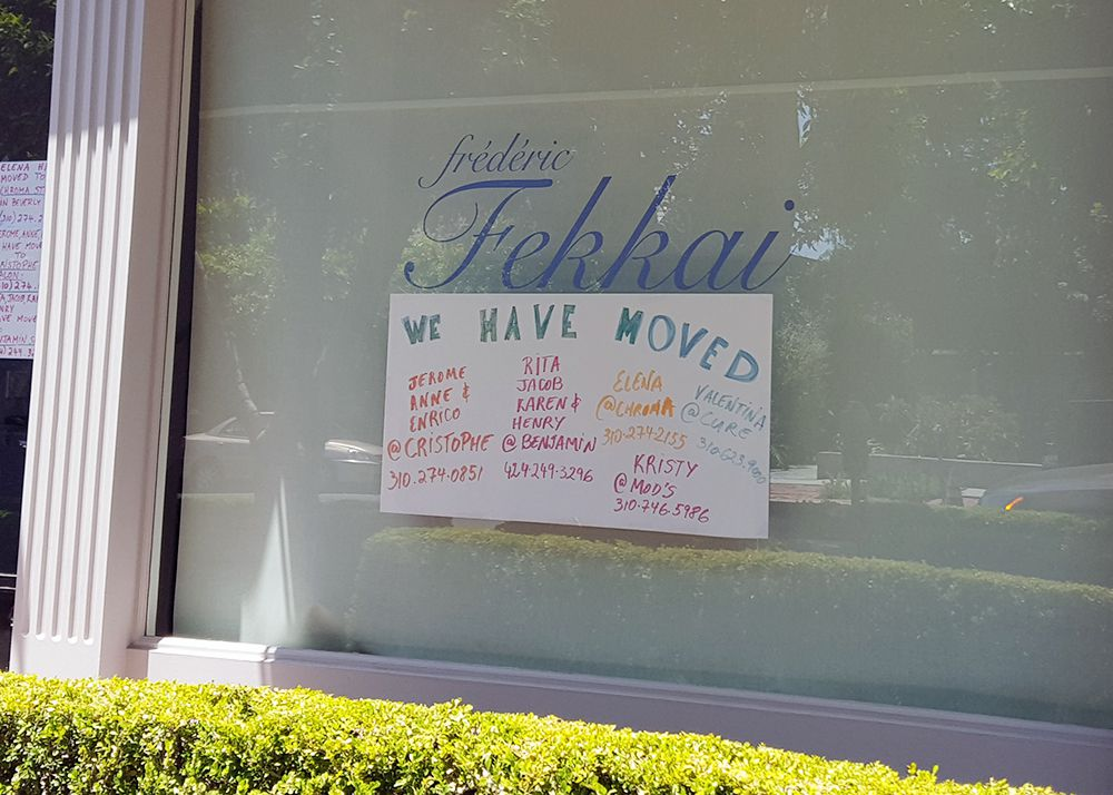 frederic fekkai melrose place closed sign
