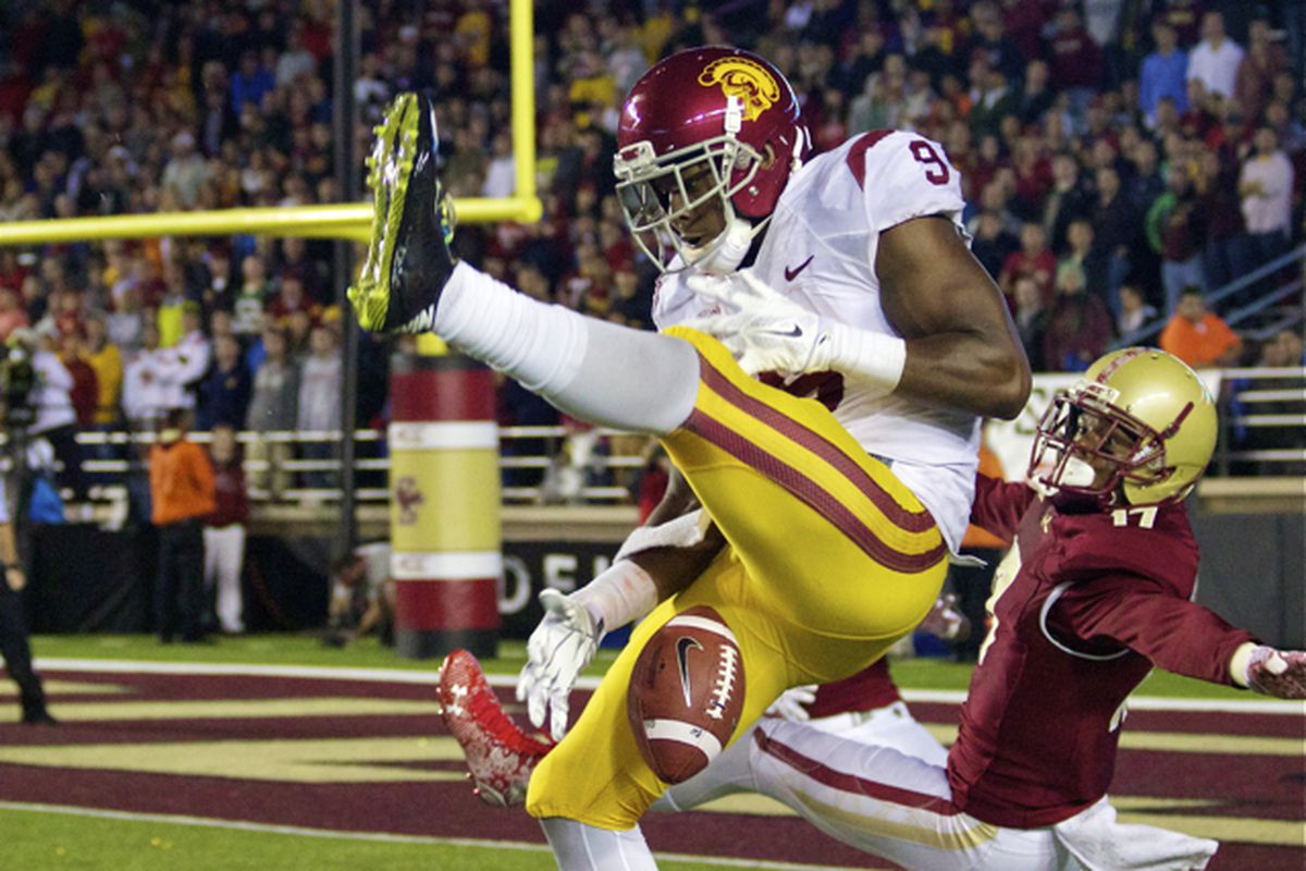 JuJu Smith can't come up with a catch on a back-shoulder throw.