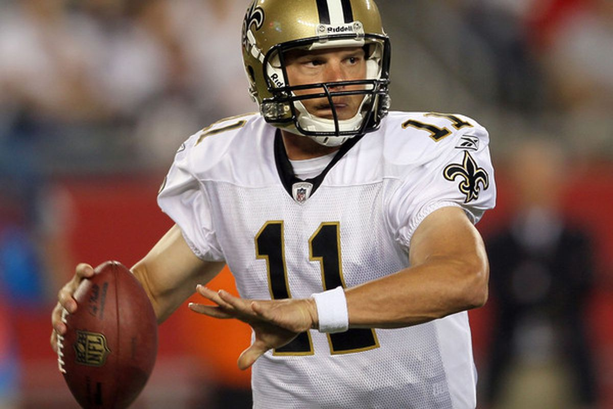 Patrick Ramsey # 11 of the New Orleans Saints looks to pass during the preseason game against the New England Patriots at Gillette Stadium on August 12 2010 in Foxboro Massachusetts. (Photo by Jim Rogash/Getty Images)