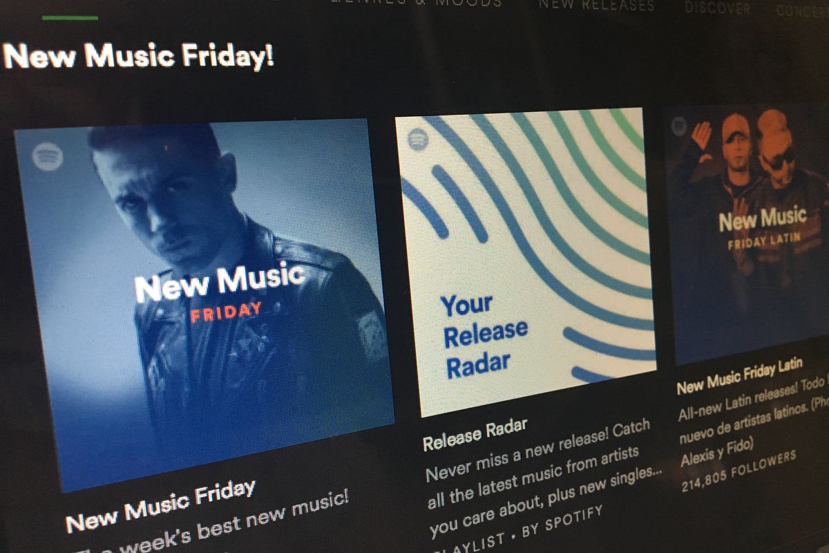 An image of the Spotify app, featuring blocks of albums and playlists