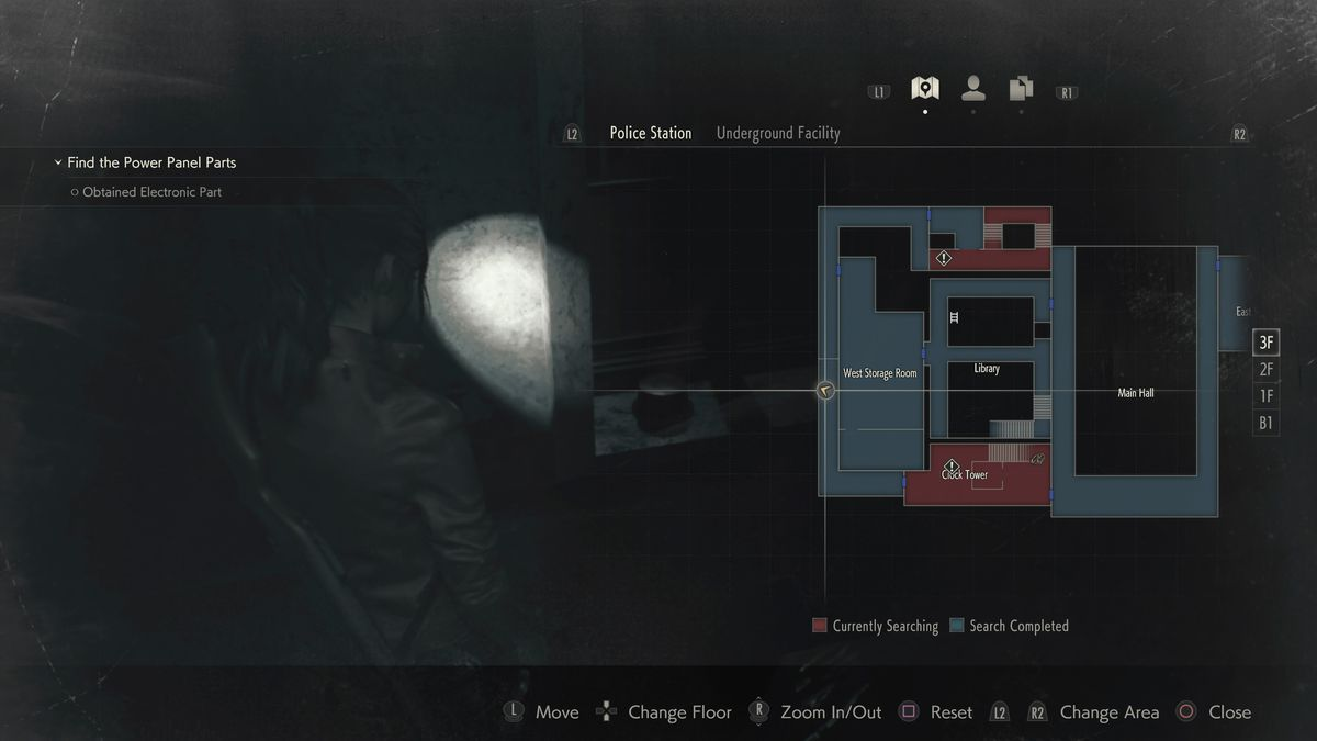 Resident Evil 2 Mr. Raccoon Clock Tower location map