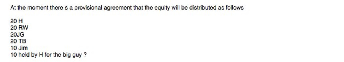 """The email excerpt reads, """"At the moment there is a provisional agreement that the equity will be distributed as follows: 20 H, 20 RW, 20 JG, 20 TB, 10 Jim, 10 held by H for the big guy?"""""""