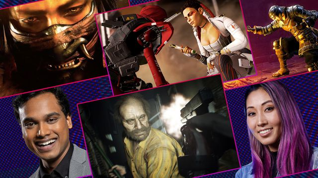 Graphic grid featuring four stills from various video games and portraits of Jimmy Mondal and Mari Takahashi
