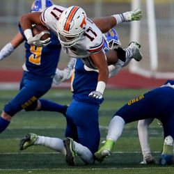 Orem and Timpview face off in the 5A football state championship game at Cedar Valley High in Eagle Mountain on Friday, Nov. 20, 2020.