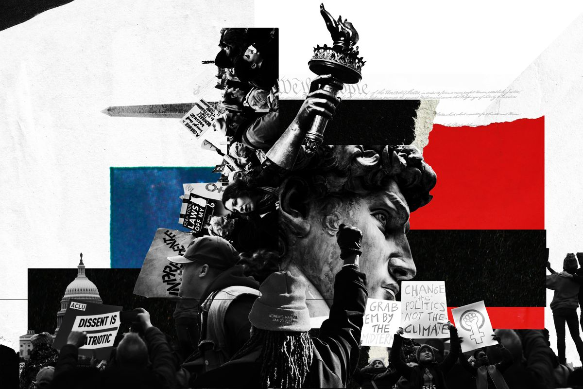 A collage-based illustration displaying elements of protest images and historical liberty symbols.